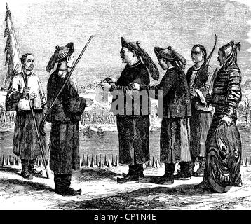 geography / travel, China, people, mandarins and soldiers, wood engraving, 19th century, costume, war mandarin, - Stock Photo