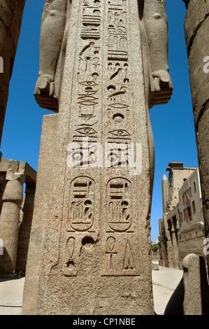 Hieroglyphs at Luxor Temple Egypt. - Stock Photo