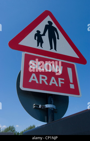Traffic sign, Cardiff, Wales. - Stock Photo