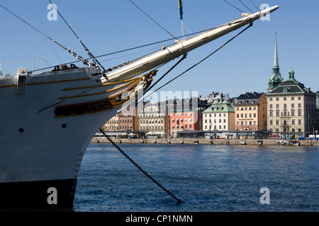 Gamla Stan (Old Town) and the 'af Chapman' Sailing Ship, Stockholm. - Stock Photo