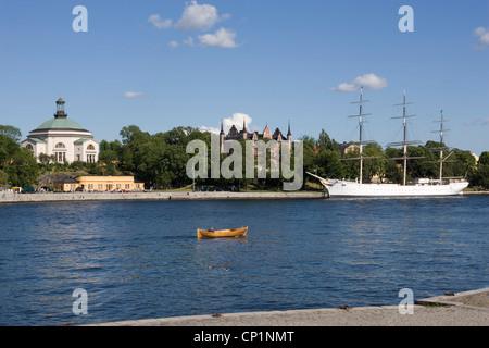 Skeppsholmen and the 'af Chapman' Sailing Ship, Stockholm, Sweden. - Stock Photo