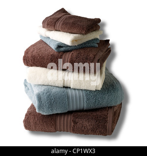 A still life shot of a stack of bath towels - Stock Photo