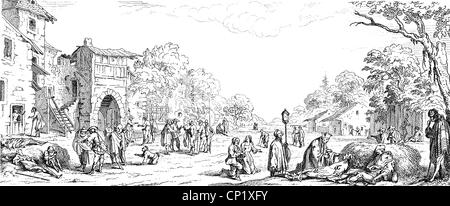 events, Thirty Years' War, 1618 - 1648, soldiers as beggars, wood engraving, 19th century, after a depiction from - Stock Photo