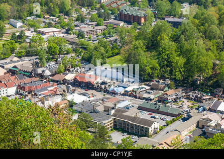 Aerial of town of Gatlinburg in the Smoky Mountains of Tennessee - Stock Photo