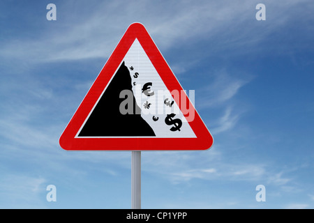 An actual road sign modified to imply a 'global financial crisis' (for business or financial concepts, with copy - Stock Photo