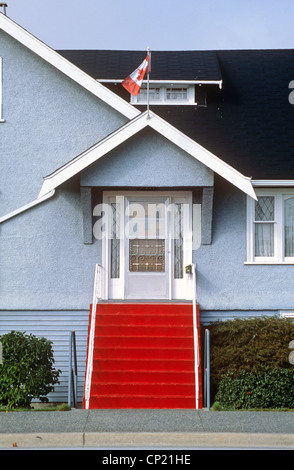 British Columbia, Vancouver, house with red stairway in Steveston fishermen's village - Stock Photo