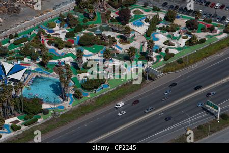 aerial photograph miniature golf, Redwood City, San Mateo County, California - Stock Photo