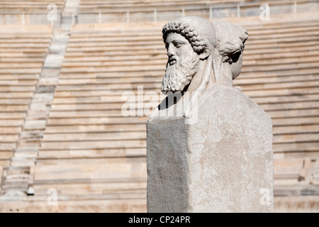 Ancient statue in the interior of Panathenaic stadium, also known as the Kallimarmaro. Athens, Greece, Europe. - Stock Photo