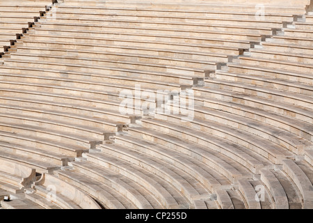 Detail from the stands of the Panathenaic stadium, also known as Kallimarmaro. Athens, Greece. - Stock Photo