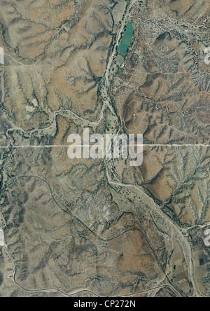aerial photo map of Arizona Mexico border east of Nogales - Stock Photo