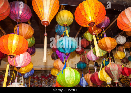 Colourful lanterns for sale in a shop, Hoi An, Quang Nam province, Vietnam - Stock Photo