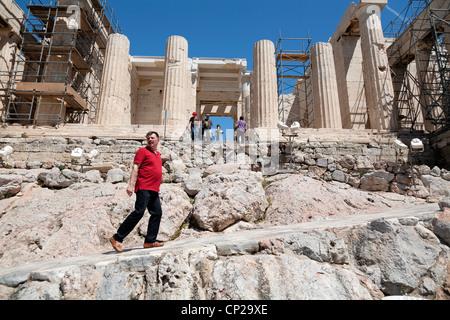 Tourists at the Propylaea of the Athenian Acropolis, Greece. - Stock Photo