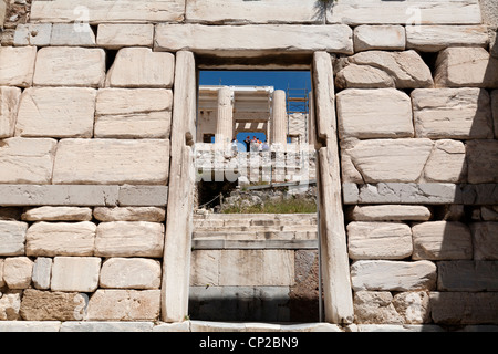 Propylaea of the Athenian Acropolis. Athens, Greece - Stock Photo