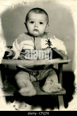 USSR - CIRCA 1980: An antique photo shows portrait of little girl, Rostov-on-Don, 1980 - Stock Photo
