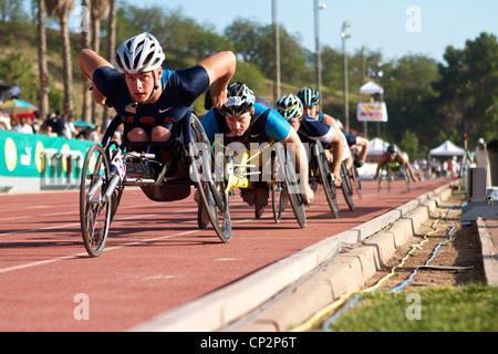 USA Mens 1500m wheelchair race At the Mt Sac relays 2012, Walnut, California, USA - Stock Photo