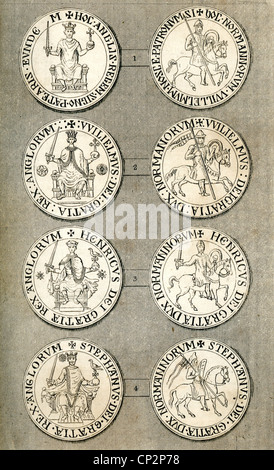 Illustration of the Great Seals of William I, William II, Henry I and Stephen. - Stock Photo