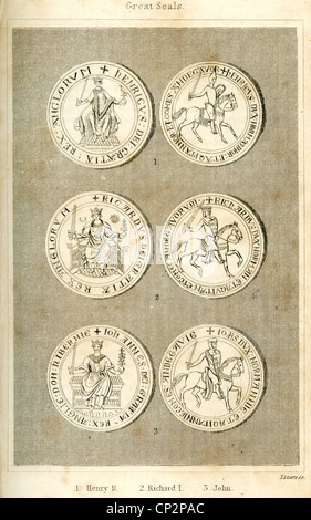 Illustration of the Great Seals of King Henry II, King Richard I and King John - Stock Photo