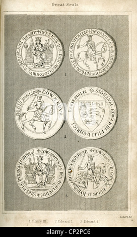 Illustration of the Great Seals of King Henry III and King Edward I - Stock Photo