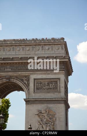 Part of the Arc de Triomphe in Paris France - Stock Photo