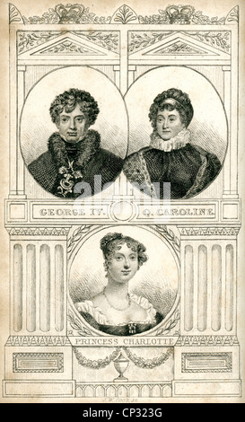 Portrait of King George IV, Queen Caroline, and Princess Charlotte of England. - Stock Photo