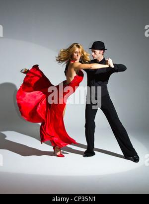 ballroom dancers, studio, dynamic, amazing,'burn the floor','burn the floor show' - Stock Photo
