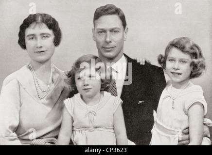 King George VI with his wife Queen Elizabeth and daughters Margaret and Elizabeth, later to reign as Queen Elizabeth II
