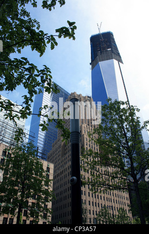 Construction of One World Trade Center (formerly the Freedom Tower) in Lower Manhattan. - Stock Photo