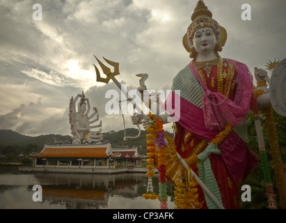 , Wat Plai Laem is located in the north of Samui on road 4171 from Big Buddha to Choeng Mon Beach. The temple is - Stock Photo