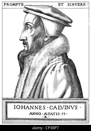 Johannes Calvin or Jean Caulvin, 1509 - 1564, a French-born reformer and founder of Calvinism, - Stock Photo