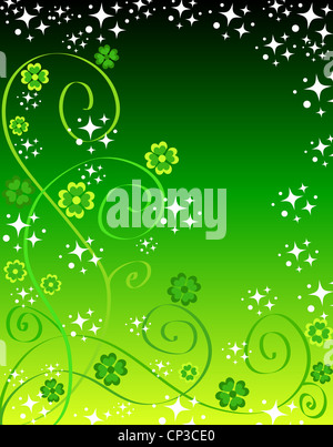 Green lucky shamrocks , clovers and stars design - Stock Photo