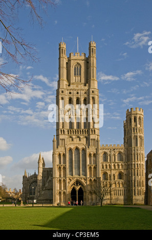 The west Tower and entrance to Ely Cathedral Cambridgeshire England with Palace Green in foreground - Stock Photo