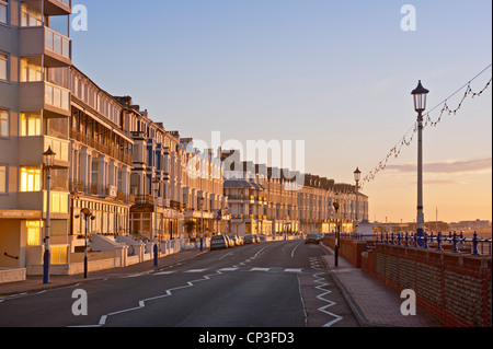 Sunlight on Seafront Hotels in Eastbourne, East Sussex - Stock Photo