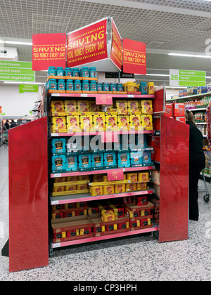 Baked Beans On Point Of Sale Display In A Supermarket Surrey England - Stock Photo