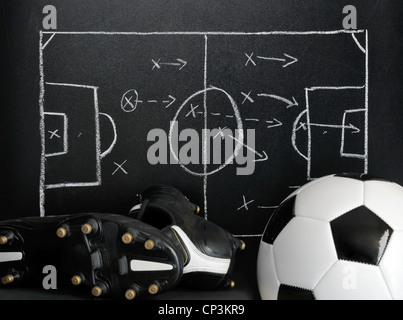 soccer, football strategy on a chalkboard with ball and soccer boots - Stock Photo