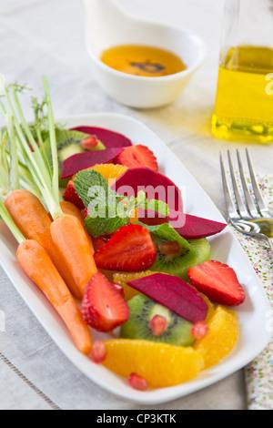 Super salad [Strawberry,kiwi,beet,orange] - Stock Photo