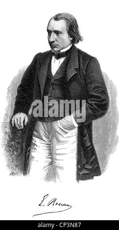 Renan, Ernest, 23.2.1823 - 2.10.1892, French author / author / writer and philosopher, half length, engraving, 19th - Stock Photo