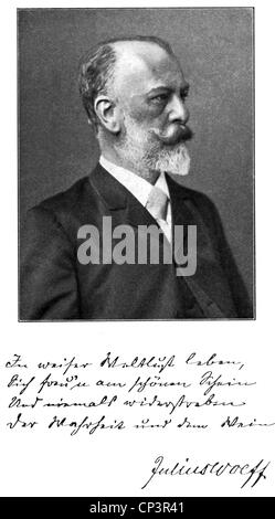 Wolff, Julius, 16.9.1834 - 3.6.1910, German poet, portrait, circa 1900, with a verse, Additional-Rights-Clearances - Stock Photo