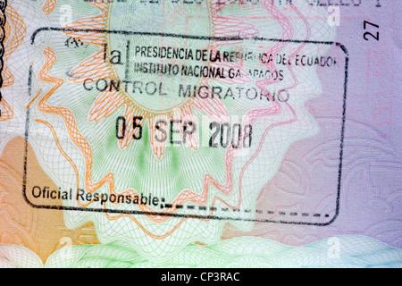 stamp in British passport for Galapagos Ecuador - Stock Photo