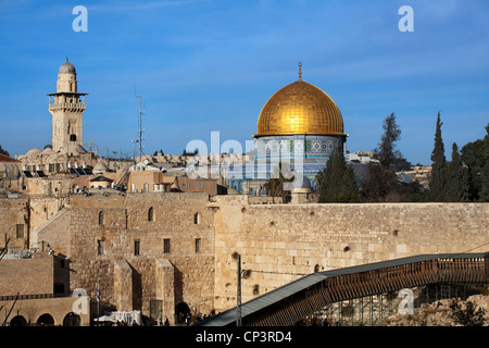Dome of the Rock in Jerusalem adjacent to the Wailing Wall/Western Wall. Israel - Stock Photo