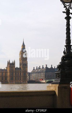 Houses of Parliament. Palace of Westminster and Westminster Bridge viewed from Albert Embankment London. England - Stock Photo