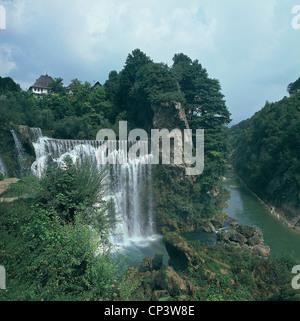 Bosnia and Herzegovina - Bosnia - Pliva River waterfalls in Jajce - Stock Photo