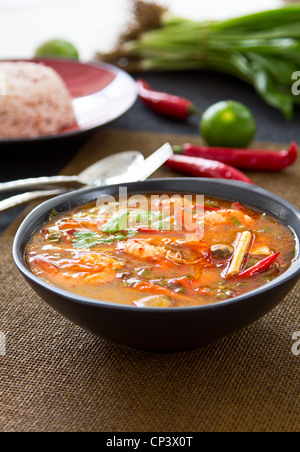 Sour and Spicy soup [Thai s Tomyum kung] - Stock Photo