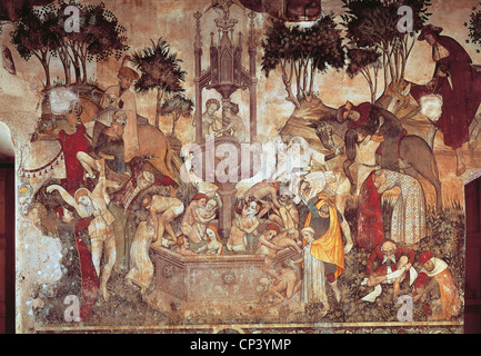 Piedmont - Saluzzo (Cn) - Castello della Manta. Fresco of the fifteenth century. - Stock Photo