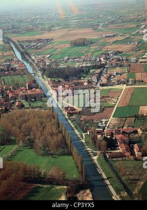 Lombardia - Robecco sul Naviglio (Mi). Aerial view. - Stock Photo