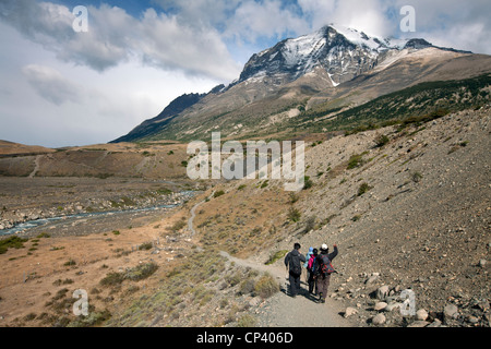 Trekking in Torres del Paine National Park. Patagonia, Chile. - Stock Photo