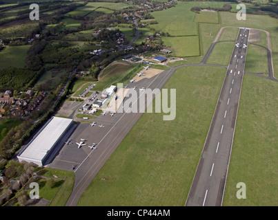 Aerial view of London Biggin Hill Airport, Kent - Stock Photo