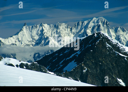 Valdaosta, VALGRISENCHE, Dent du Geant and Grandes Jorasses VIEWS FROM CHATEAU BLANC - Stock Photo