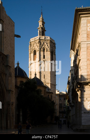 Spain - Valencia. The bell tower of the cathedral of Santa Maria, Torre said the Miguel Micalet or (XIV century) - Stock Photo