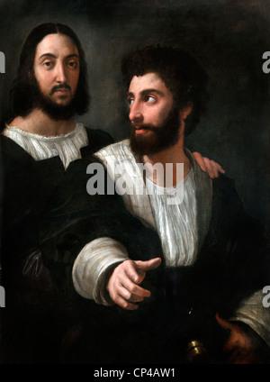 Self Portrait with Friend  by Raffaello Santi - Raphael 1483 - 1520  Italy Italian - Stock Photo