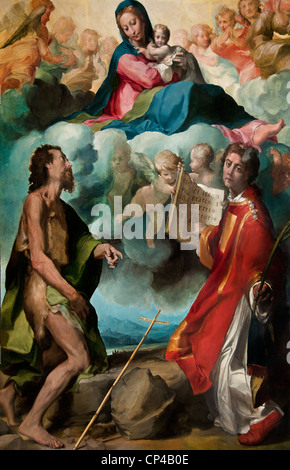 The Virgin in Glory with Saints John the Baptist and St. Stephen 1554 by Michelangelo ANSELMI Italy Italian - Stock Photo